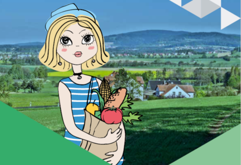 Cartoonfrau mit Einkaufstasche