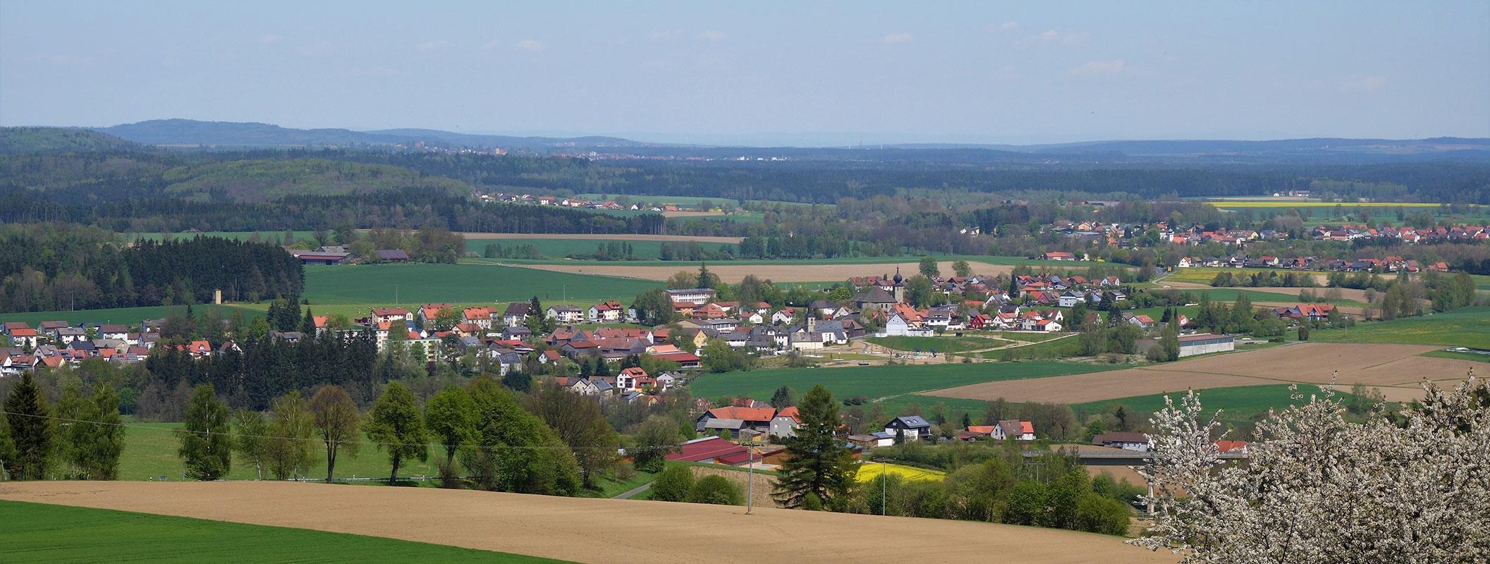 Dorf umgeben von Wiesen